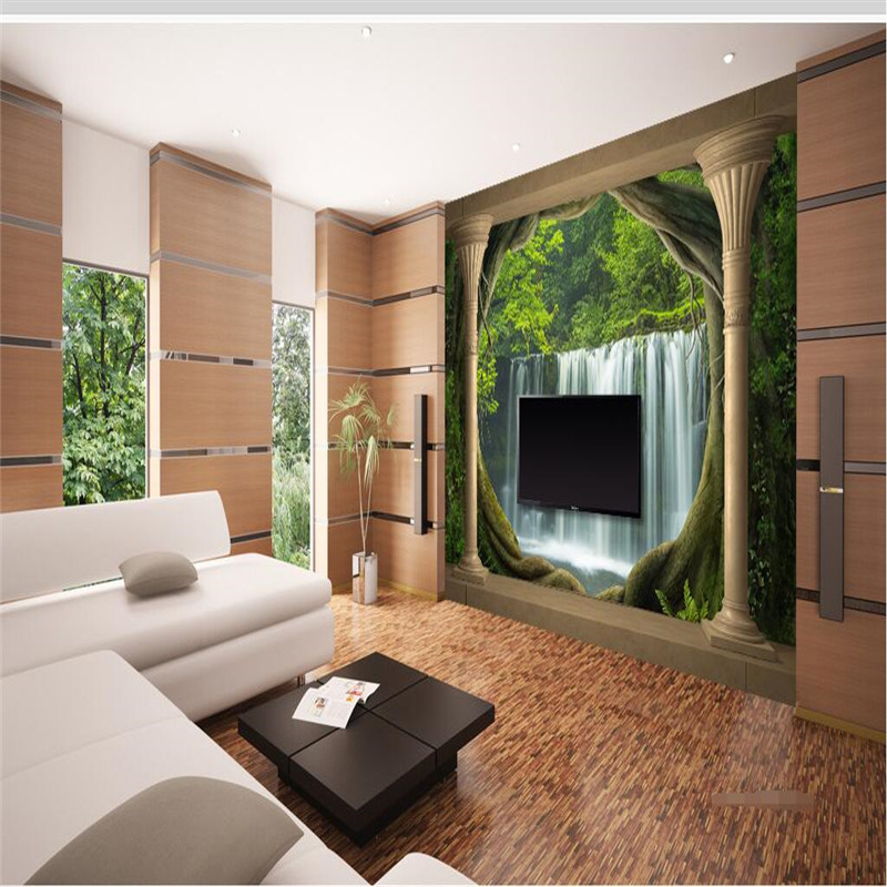 Large Wallpaper 3D Balcony Waterfall Landscape Roman ...