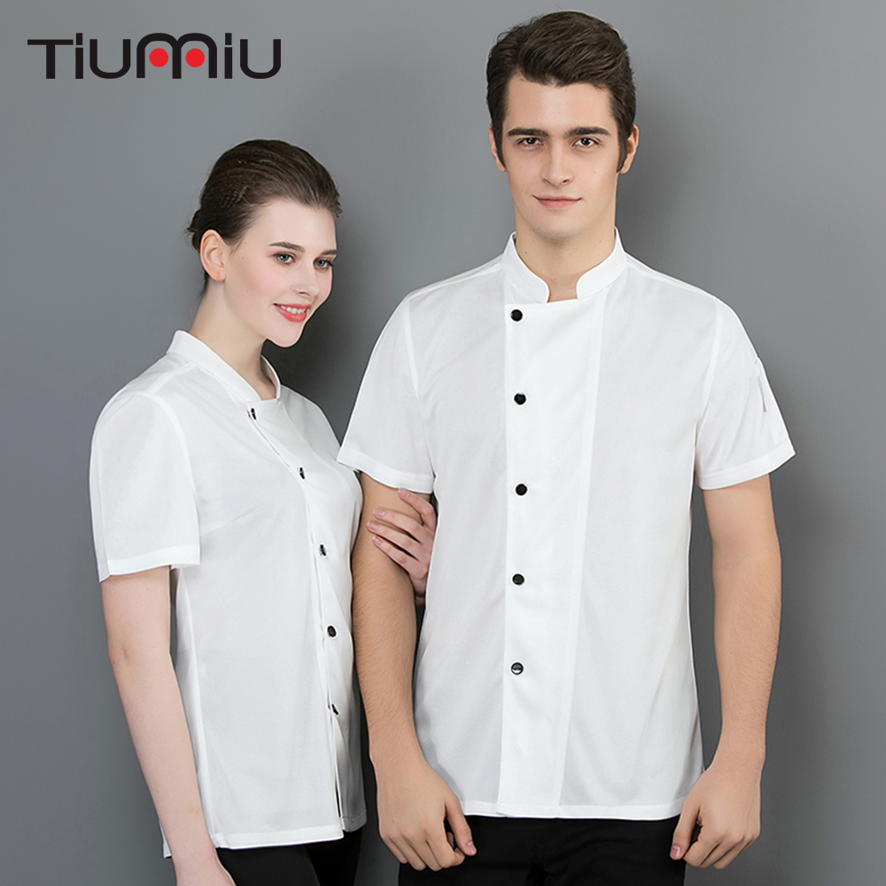 2019 New Chef Uniform Summer Short Sleeve Breathable Net Comfortable Chef Shirt Chef White Black Jacket Men Women Cook Workwear