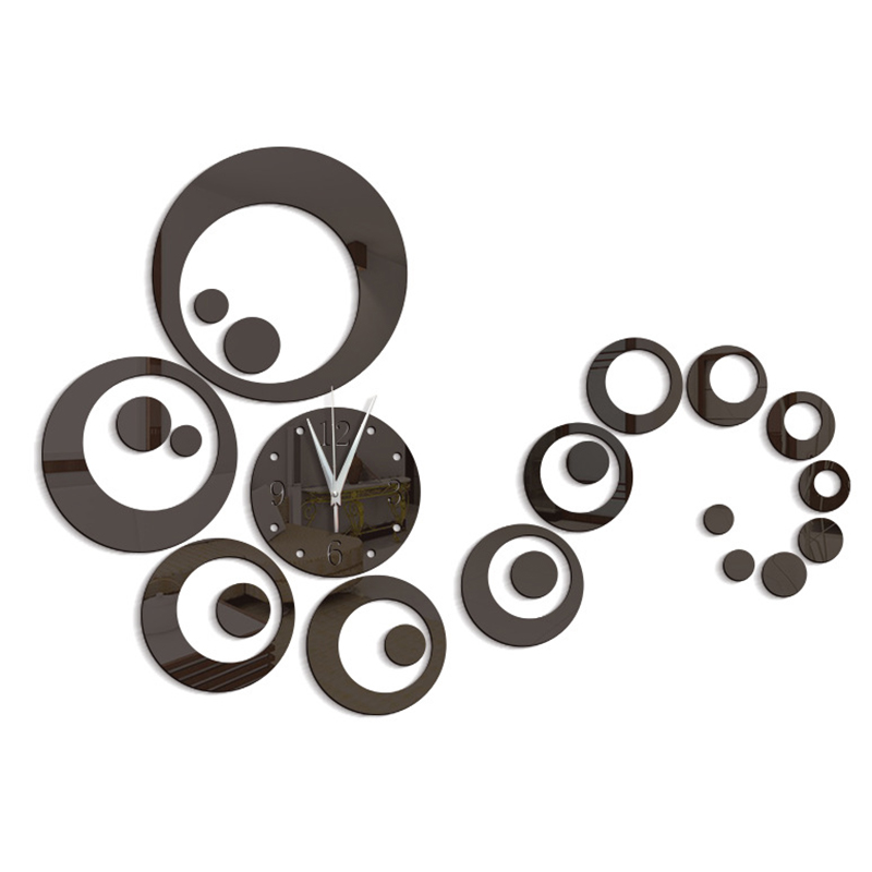 Top fashion europe style mirror acrylic wall watches wall stickers circle decoration multi-piece set quartz wall clocks <font><b>60109</b></font> image