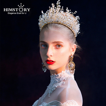 HIMSTORY High Grade Full Handmade Hairband Bridal Wedding Hair Accessories Royal Tiaras Crown Headpiece Jewerly