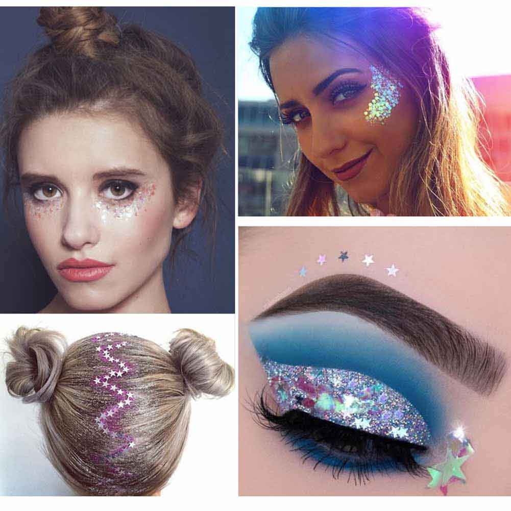 1 Bottle Mermaid Sequins Gel Glitter Eyeshadow Makeup Cosmetic Mixed Paillette For Face Body Hair Nshopping Beauty & Health Beauty Essentials