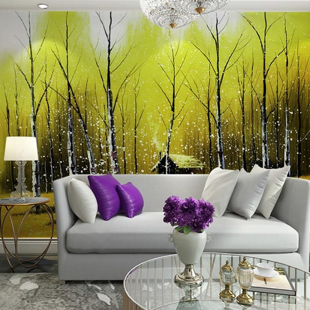 Home Decor Wall Papers Painting Birch Tree Forest Landscape Photo Wallpaper  Bedroom TV Wall Mural Part 89