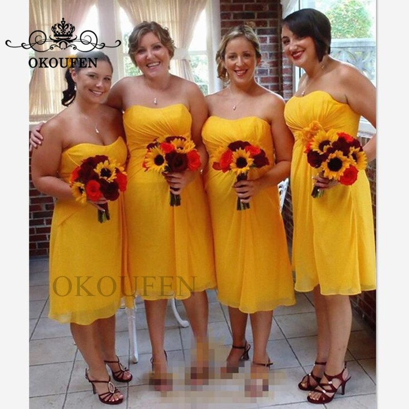 Wholesale Price Gold Yellow Chiffon   Bridesmaid     Dresses   For Women 2019 Knee Length Bohemia Beach Party   Dress   Maid Of Honor Gown