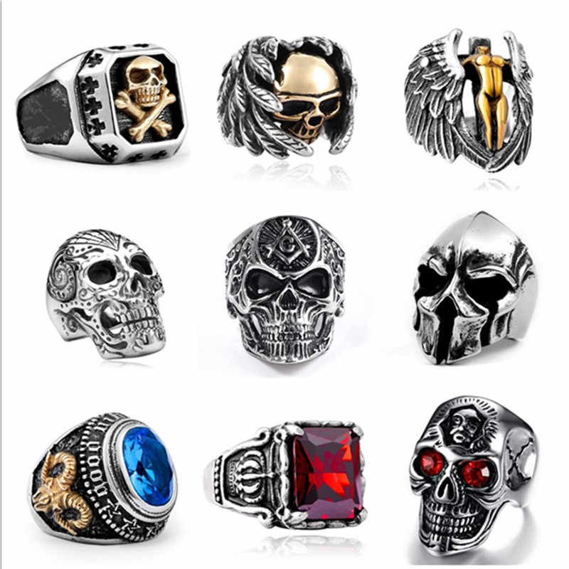 Men Stainless Steel Ring Gothic Punk Ring Vintage High Quality Skull Rings For Men Steampunk Hip Hop Jewelry Accessories