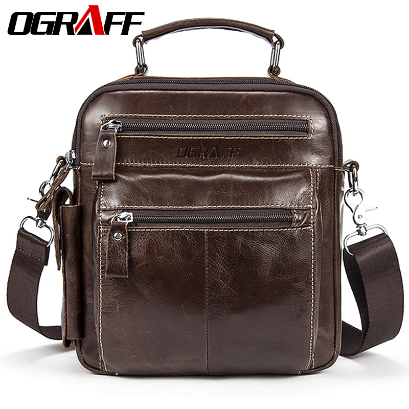 OGRAFF Men's bag leather handbag men genuine leather Shoulder messenger bag crossbody travel bag designer handbags high quality ograff bag men genuine leather men messenger bags handbags famous brand designer briefcases leather crossbody bags men handbag