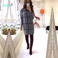 TAOVK 2016 новая мода Русский стиль Женщины Осень и Зима Свитера длинный участок высокого шеи плед печати вязать пуловеры свитер