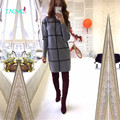TAOVK 2016 nuevas de la manera Mujeres del estilo Ruso Otoño y Suéteres de Invierno sección larga de alta cuello impresión de la tela escocesa de punto jerseys suéter