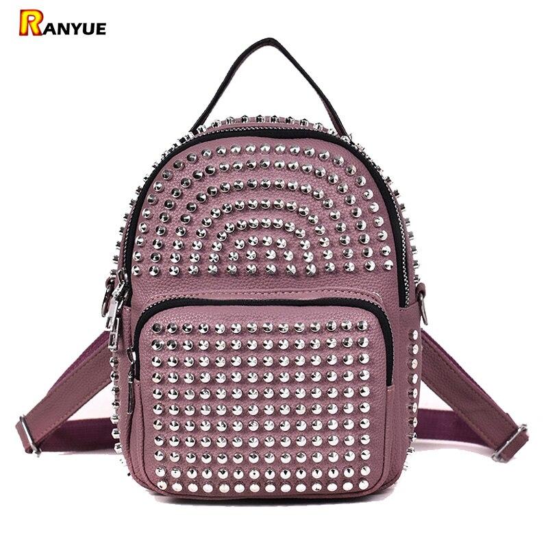 2c675121395 Simple Style Korean Rivet Backpack Women Pu Leather Backpacks Women's  Casual Daypacks For Girl Small Mini Mochila Black Pink Bag