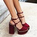 2017 Sexy Zapatos de Mujer de Tacón Alto de la Hebilla Sandalias del Ante Zapatos de Plataforma Slingback Zapatos de Mujer de Verano Zapatos de Las Mujeres Zapatos de Las Señoras Calientes