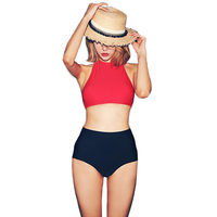 2017 Bikinis Women Swimwear High Waist Swimsuit Red Sexy Swimwear Push Up Crop Top High Neck