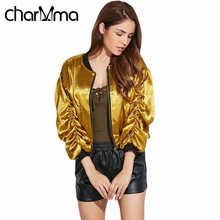 charMma Golden Yellow Women Jacket Coat Street Style Stand Collar Draped Baseball Jacket Long Sleeve Fashion Zippers Slim Coats