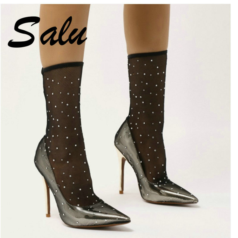 Salu mode maille transparente Stretch tissu chaussette bottes talons fins bout pointu cheville chaussures femme bottes or taille 41 42 43