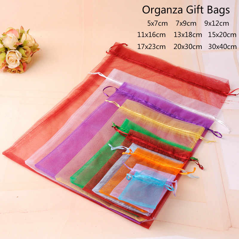 10pcs/lot (9 Sizes) Organza Gift Bag Jewelry Packaging Bag Wedding Party Decoration Favors Drawable Gift Bag&Pouches Baby Shower