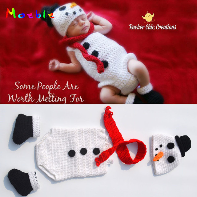 7317c2dc4 Crochet Snowman Hat Romper Set Knitted Newborn Snowman Costume ...
