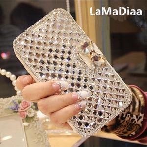 Image 1 - LaMaDiaa Luxury Bling RhinestoneเพชรสำหรับiPhone 11 12 Mini Pro Max XR X 6 Plus 7 8 plusกระเป๋าสตางค์ฝาครอบหนัง