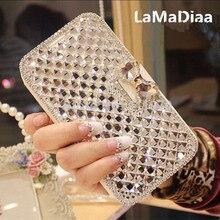 Lamadiaa luxo bling strass diamante caso de telefone para o iphone 11 12 mini pro max xr x 6 plus 7 8 mais carteira couro flip capa