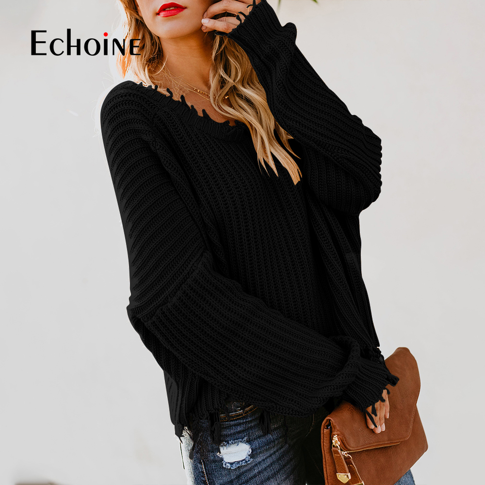 Long Sleeve Tassel Knitted Loose Female O V Neck Two ways to wear 2019 Autumn Sweater Women White black yellow Fringe Pullover in Pullovers from Women 39 s Clothing
