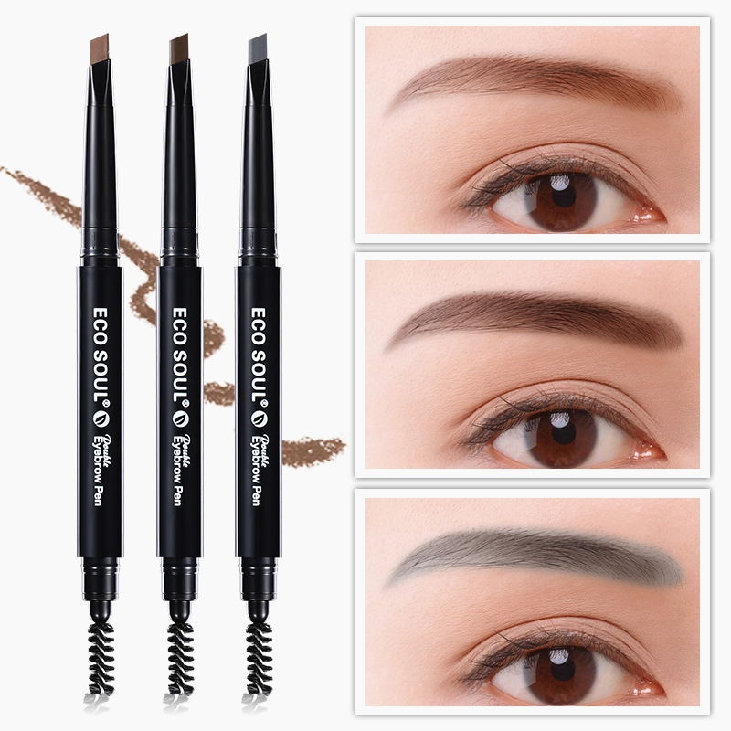 3 Color Double Ended Natural Paint Eyebrow Pencil Waterproof Long Lasting Rotatable Triangle Eye Brow Tattoo Pen in Eyebrow Enhancers from Beauty Health