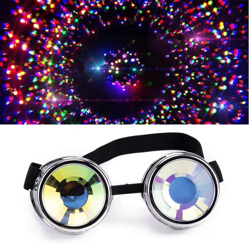 Hotselling New Fashion Desgin Style Colourful Lens Punk Glasses Kaleidoscope Rainbow Crystal Lenses Silver Steampunk Goggle