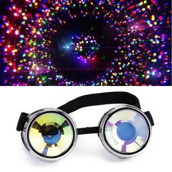 a612dff8aa Venta caliente nuevo diseño de moda estilo colorido lente Punk gafas  caleidoscopio Arco Iris lentes de cristal de plata Steampunk gafas