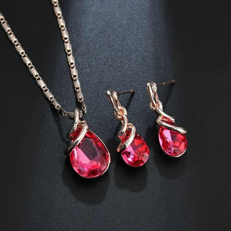 2018 Fashion Water Drop Crystal Jewelry Set For Women Geometric Pendant Necklace Lady Dangle Earrings Fashion Engagement Gifts