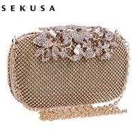 Flower Crystal Evening Bag Clutch Bags Clutches Lady Wedding Purse Rhinestones Wedding Handbags Silver Gold Black
