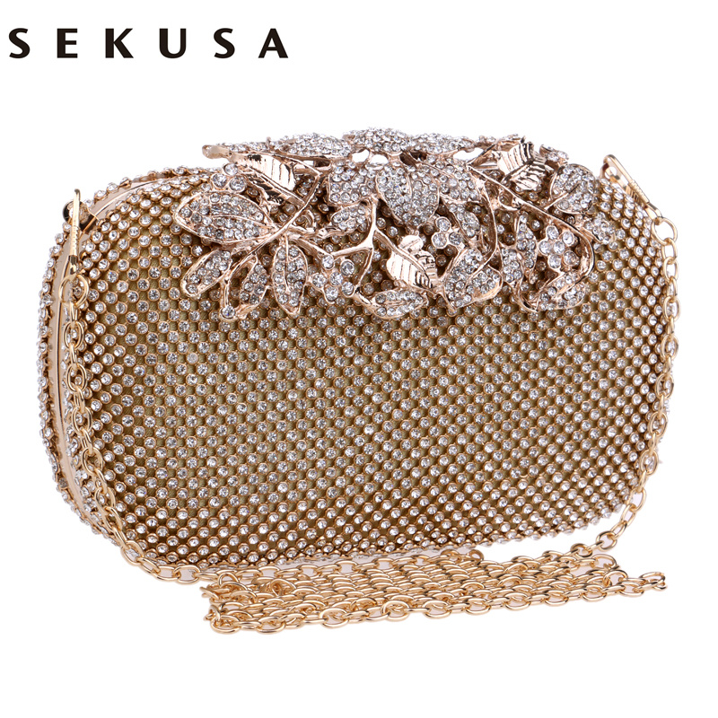 Sekusa Flower Crystal Evening Bag Clutch Bags Clutches Wedding Purse Rhinestones Handbags Silver Gold Black