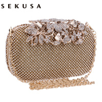 Flower Crystal Evening Bag Clutch Bags Clutches Lady Wedding Purse Rhinestones Wedding Handbags Silver Gold Black