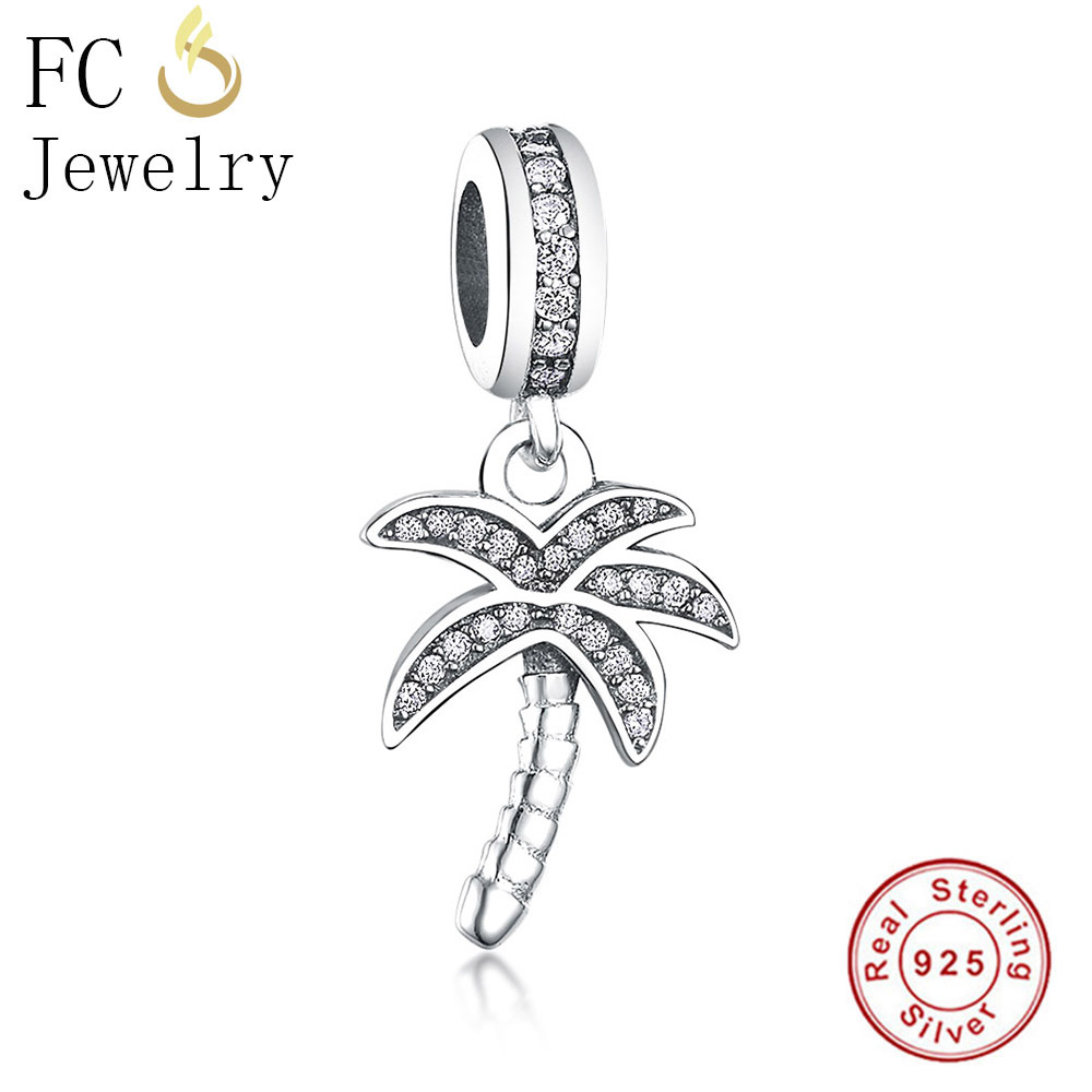 Sparking Palm Tree Hanging Pendant Charm Bead Cz 925 Silver