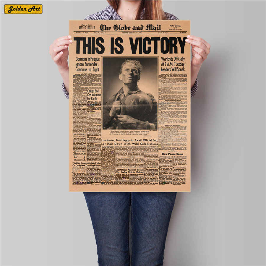 THIS IS VICTORY WW2 Newspaper vintage poster retro kraft paper painting antique wall sticker cafe pub bar decoration 45.5x31.5cm