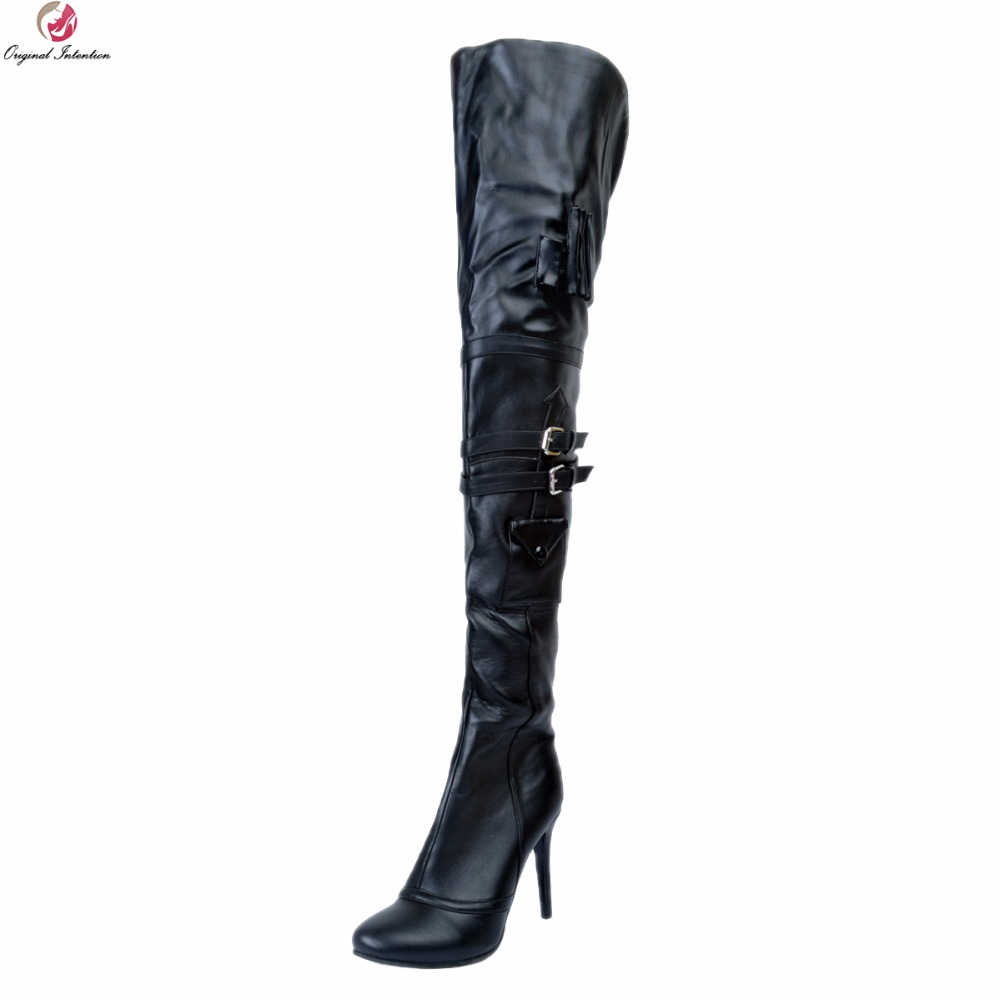 Original Intention Super Sexy Women Over-the-Knee Boots Stylish Round Toe Thin Heels Boots Nice Black Shoes Woman Plus Size 4-15 цена