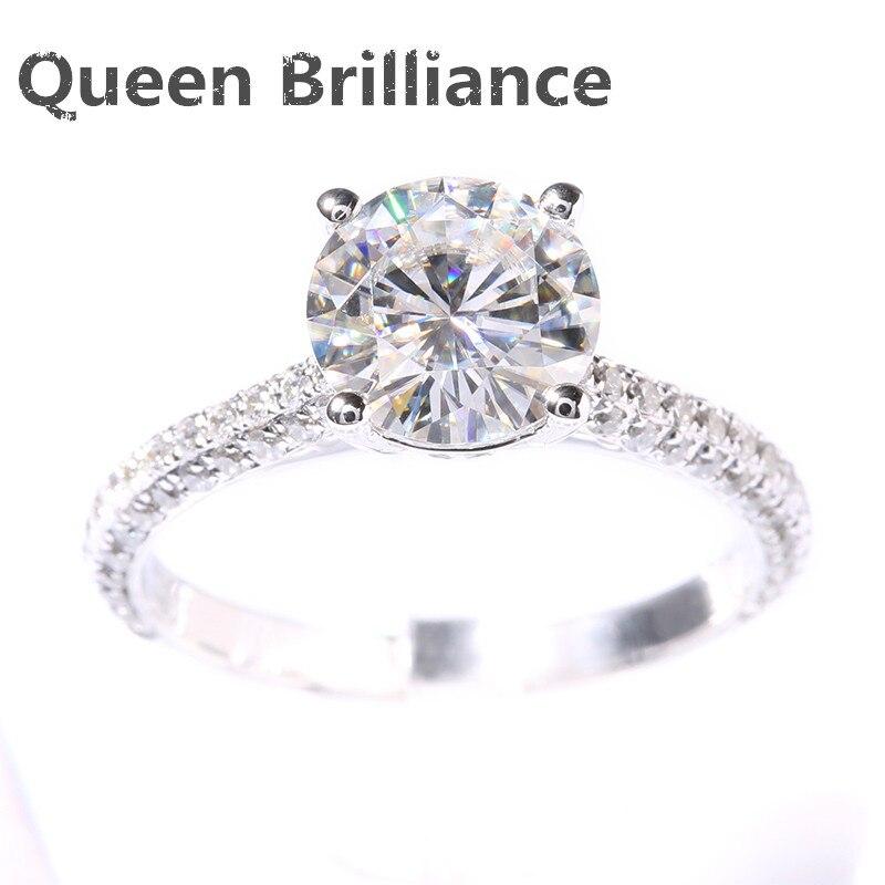 Новый Def 2 карат КТ КРУГЛЫЙ зубцами Лаборатория Grown Moissanite кольцо с бриллиантом с настоящий бриллиант Акценты SOLID 14 К 585 белое золото