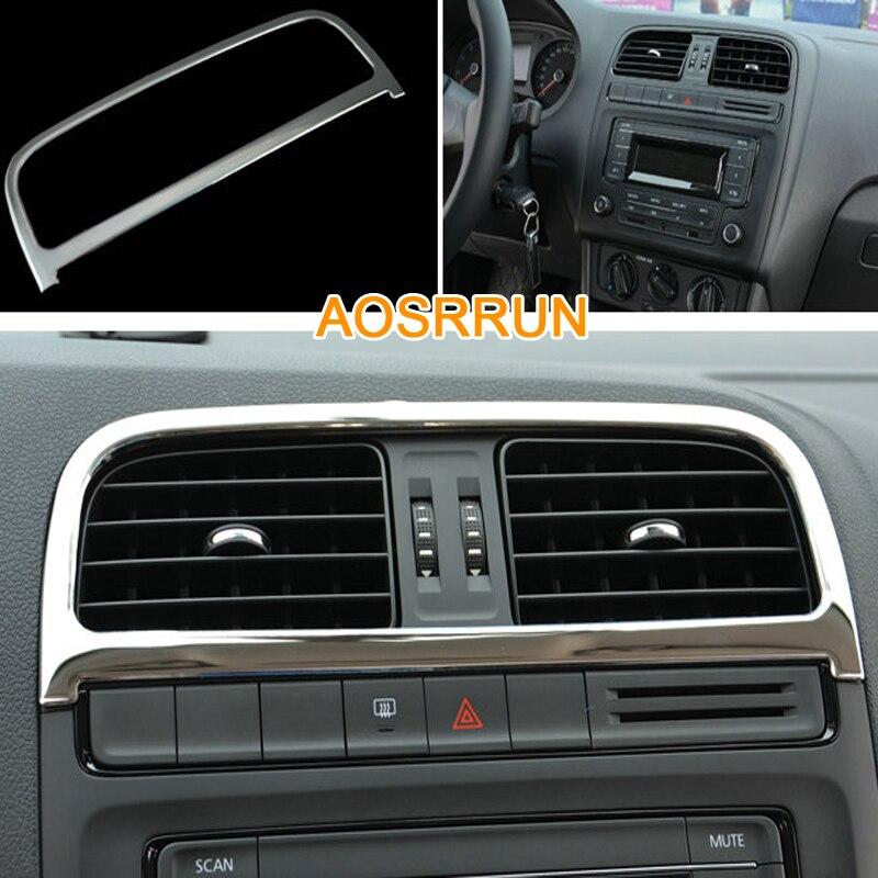 AOSRRUN,, нержавеющая сталь, центральный воздушный выход, покрытие автомобиля-Стайлинг для Фольксваген Поло 2011- 6R, автомобильные аксессуары
