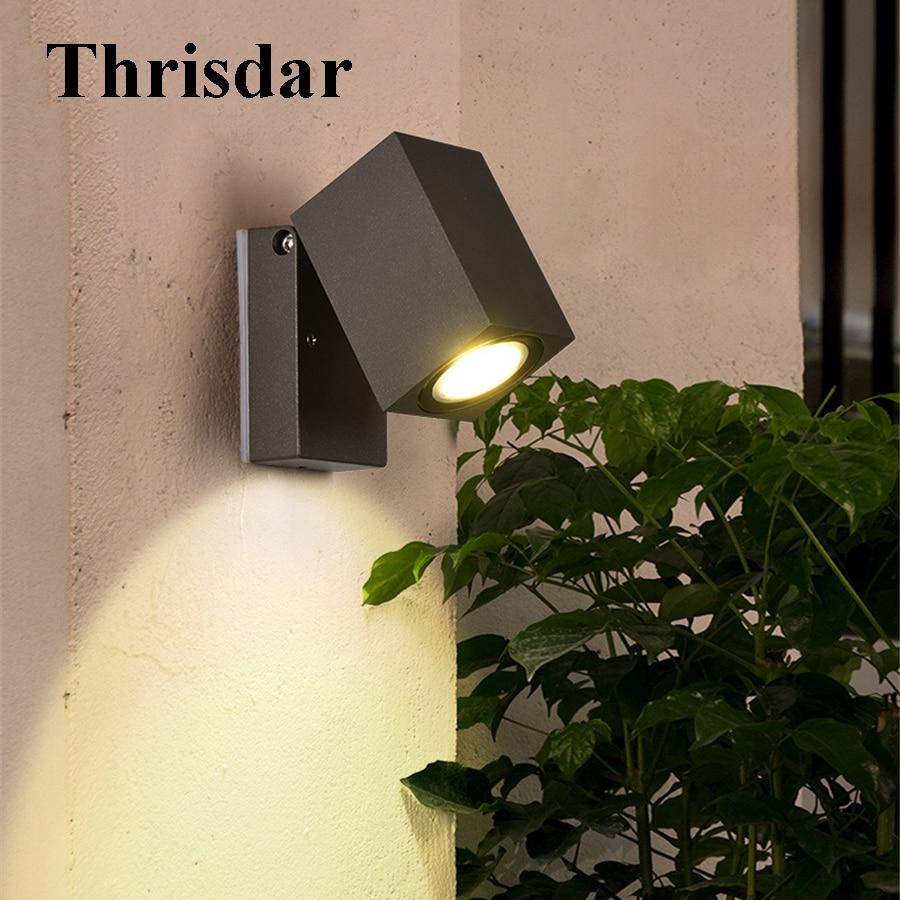 Thrisdar 5W COB Waterproof LED Wall Lamp 90 Degree Adjustable Outdoor Garden Porch Wall Light Balcony Aisle Villa Wall Spotlight цена и фото