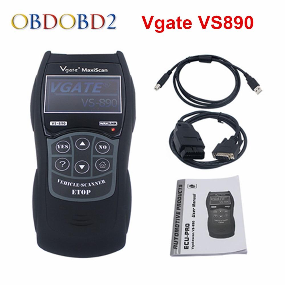 Новые VS890/XD601 Универсальный Авто диагностический сканер Vgate VS890 OBD2 может-BUS неисправностей автомобилей кодекса Reader VS-890 на нескольких языках