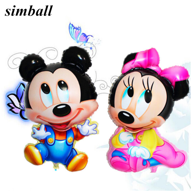 2PCS 92*55 Cartoon Mickey Minnie Foil Balloons Cute Minnie Mickey Head Balloon Wedding balloons Birthday Party Decorations Kids