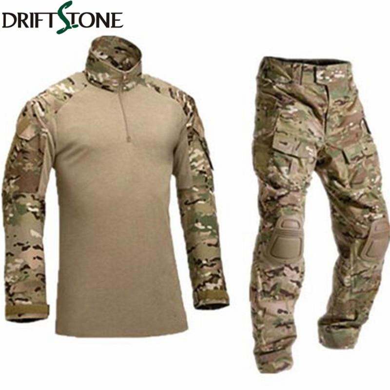 Армия Военная Униформа форма камуфляж боевой костюм Airsoft войны игры Костюмы рубашка + Брюки для девочек локоть наколенники