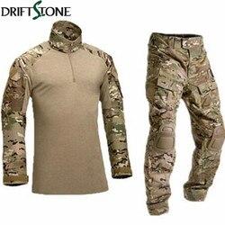 Uniforme militar do exército camuflagem combate tático terno airsoft jogo de guerra roupas camisa + calças cotovelo joelheiras