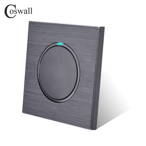 Image 3 - Coswall 1 Gang 1 Wayสุ่มคลิกเปิด/ปิดสวิทช์ไฟผนังที่มีไฟLEDสีดำ/สีเทาเงินแปรงอลูมิเนียมแผงโลหะ