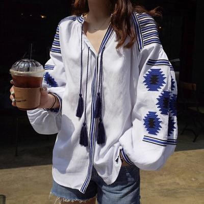 Boho font b blouse b font 2017 spring autumn ethnic bohemian long sleeve v neck white