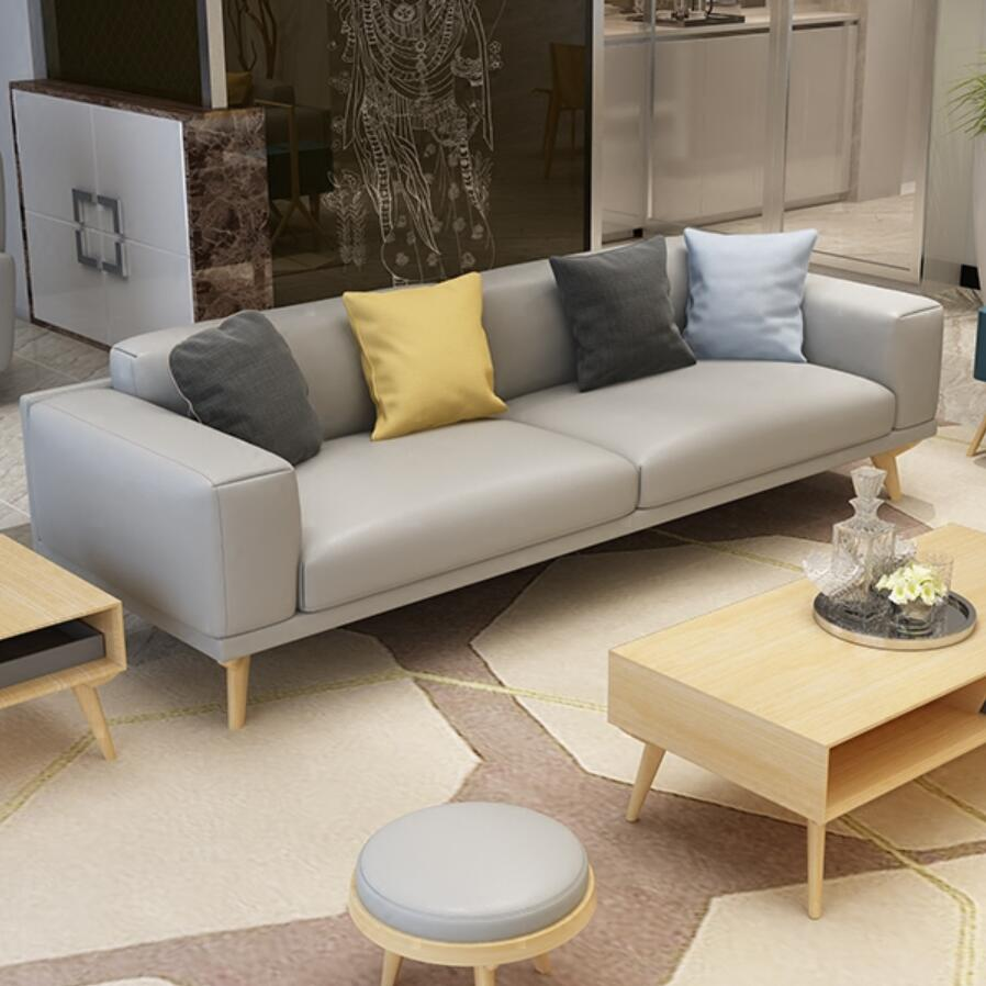 Nordic Small Apartment Leather Sofa Cowhide Solid Wood Combination Three Seats Fashion Korean In Living Room Sofas From Furniture