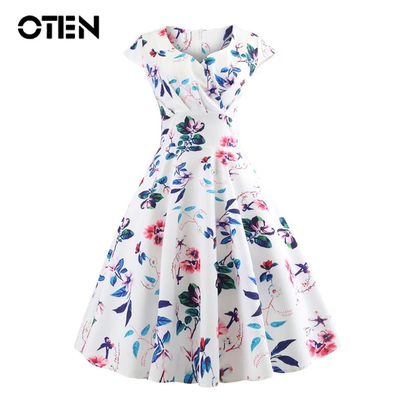 OTEN 2018 Sexy Dresses Women Summer Cap Sleeve V Neck Flower Print Rockabilly Pin Up Skater Swing Knee Length Midi Casual Dress