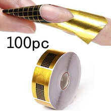 100pcs/packs Nail Art Extension Sticker Polish Gel Tips Gold U Shape French Tips Guide Nail Art Form Manicure Styling Tools