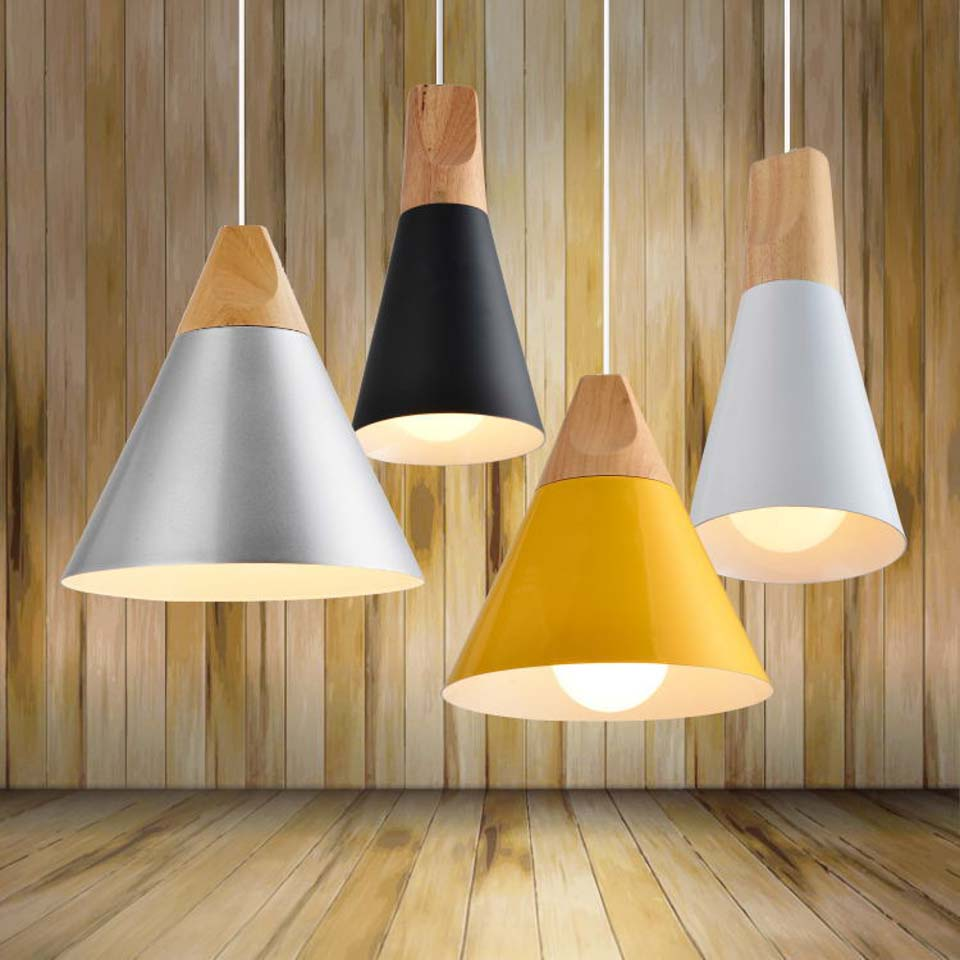 Simple Creative Three Color Wood Aluminum Cone Pendant Light Natural Fresh Countryside Coffee Bar Pendant Light  Free ShippingSimple Creative Three Color Wood Aluminum Cone Pendant Light Natural Fresh Countryside Coffee Bar Pendant Light  Free Shipping