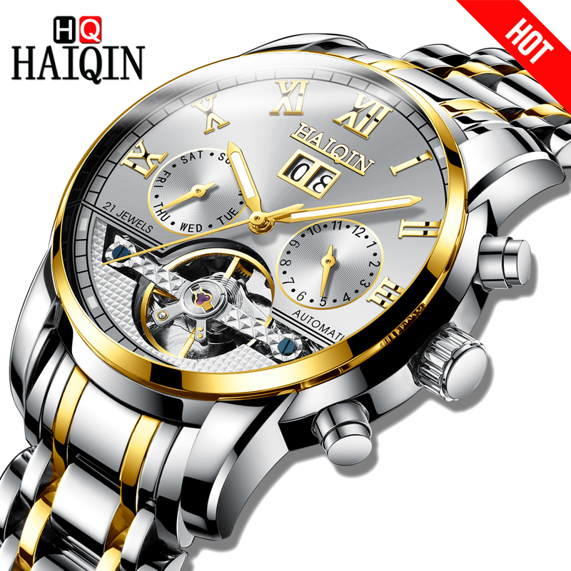 HAIQIN TOP Brand Automatic Mechanical Men Watch Bussiness Watch men Tourbillon Simple stainless Steel Waterproof Male Wristwatch