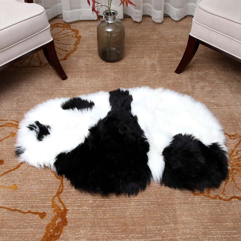 Artificial Wool Sheepskin Hairy Carpet Animal cartoon eco friendly baby floor mat Lovely panda soft Baby