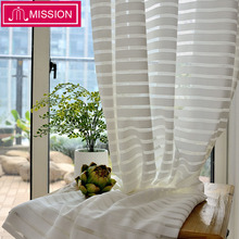 MISSION Semi Lace White Striped Sheer Curtains Tulle Voile Panel Window Curtain for Living Room Bedroom Door Custom Made