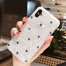 Cyato Luxury Marble Pattern For iPhone X case Conch Heart Cover 7 6 6s 8 Plus Case Soft Silicone TPU Back Coque