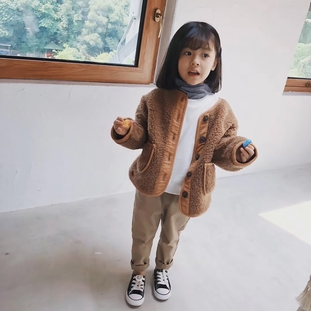 Autumn Winter New Arrival Korean Version pure color woolen warm fashion thickened coat for cute sweet baby girls and boys