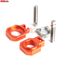 цена на CNC Billet Rear Axle Blocks Chain Adjuster With Spool Slider For KTM 125 250 350 450 525 530 SX/SX-F/EXC/EXC-F/XC-W/XCF-W